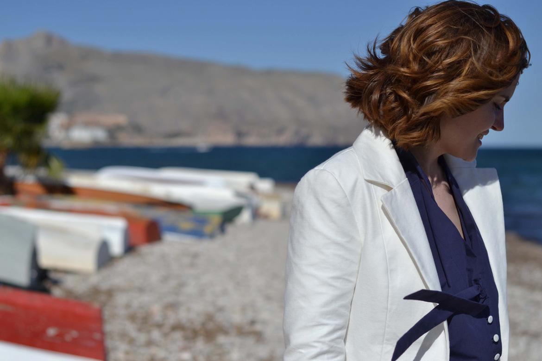 saler jacket pattern in white gabardine