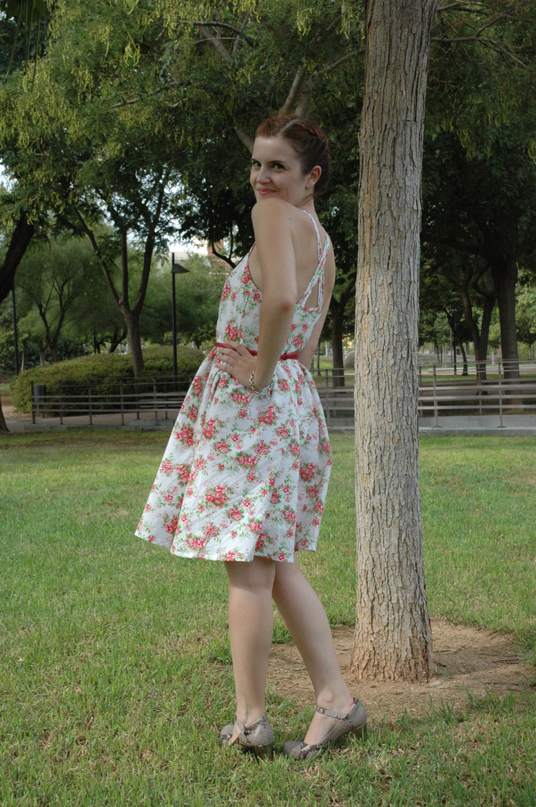 self-drafted garden roses dress side