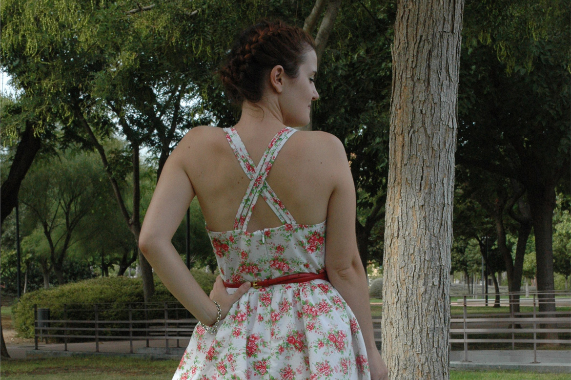 self-drafted garden roses dress back