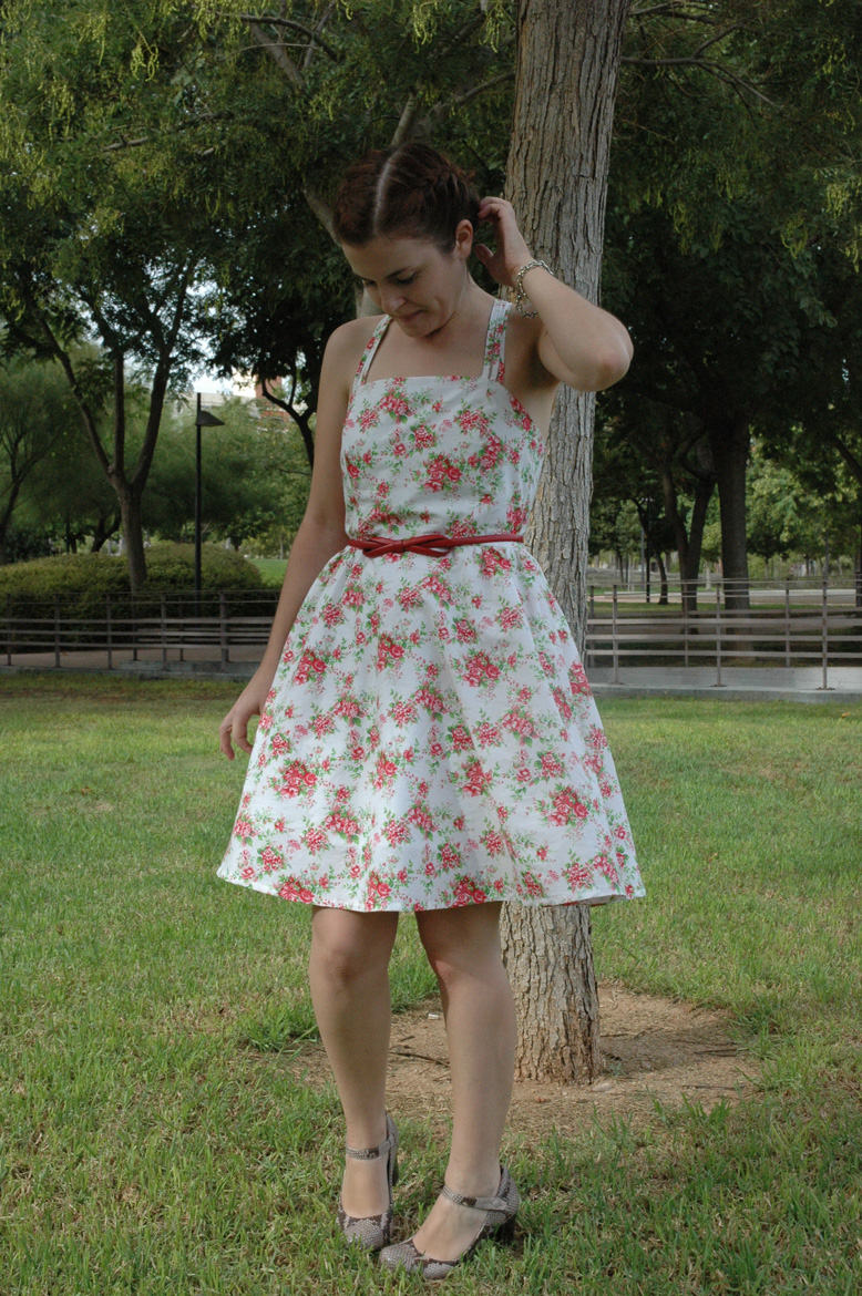 self-drafted garden roses dress front
